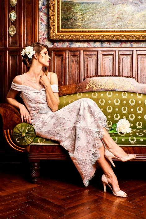 różowa suknia ślubna w stylu retro